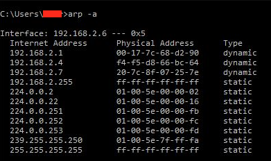 arp network inventory check