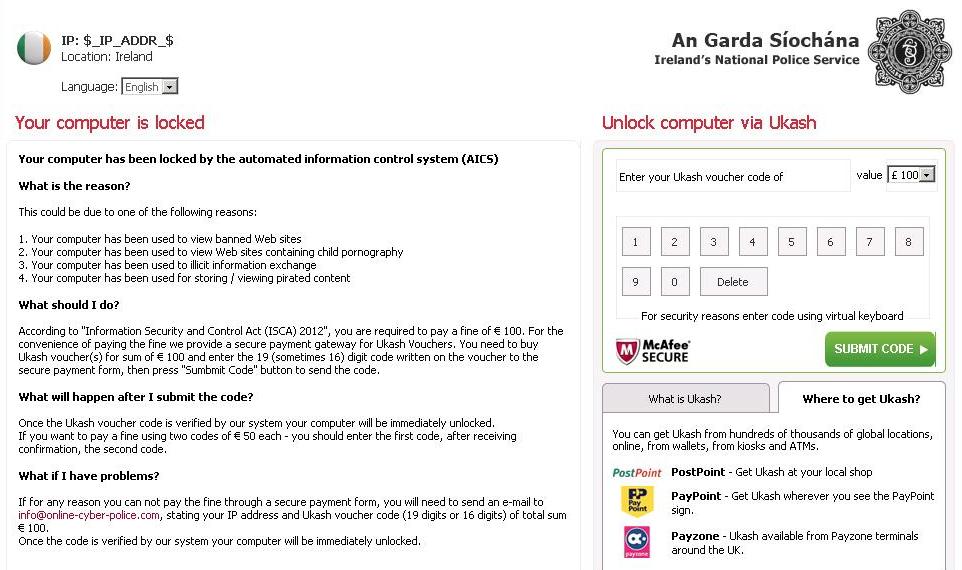 Ukash Garda virus scareware