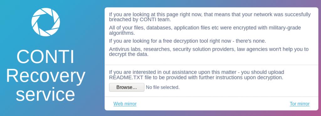 Conti ransomware note